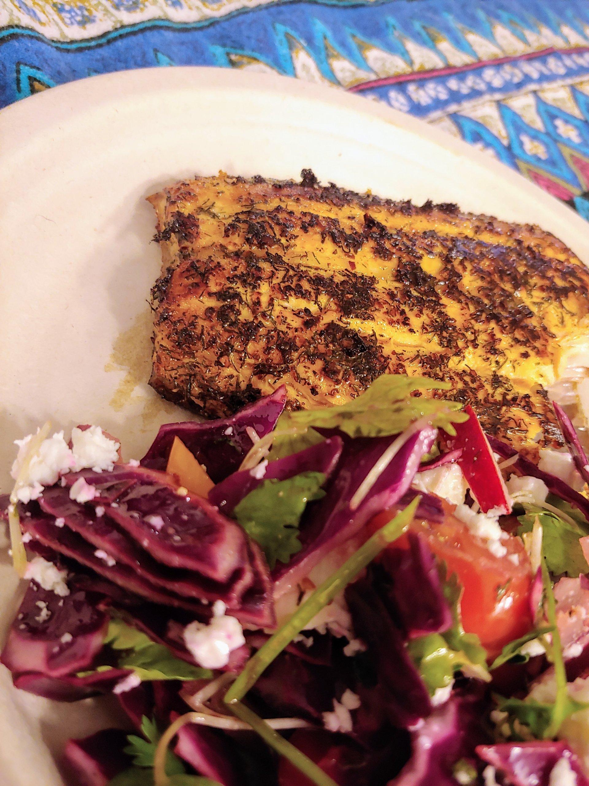 Seared Salmon and Savory Salad